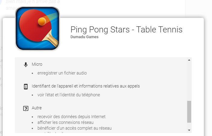 """Les conditions de l'application """"Ping Pong Stars""""."""
